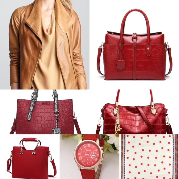 MIX COLORS & STYLES: CAMEL JACKET with RED BAGS NWT